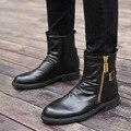 2020 черные мужские ботинки; модные ботинки на молнии с высоким берцем; мужские ботинки на меху средней высоты; Chaussures Homme Hiver; размеры 38-43