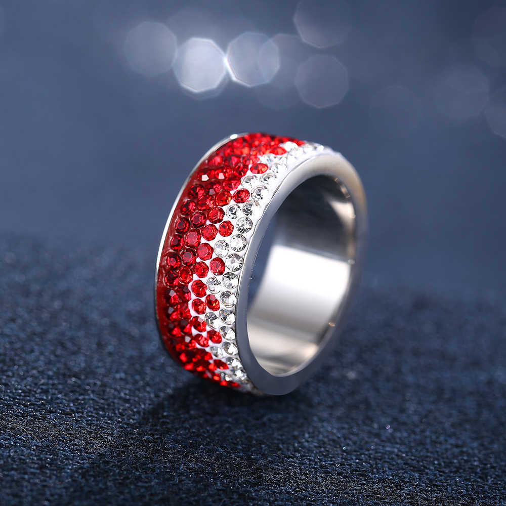 สีแดงสีฟ้าสีดำแหวนคริสตัลสำหรับผู้หญิง Vintage 5 แถวเส้นสแตนเลสแหวนปาร์ตี้หญิงดอกไม้นิ้วมือเครื่องประดับ 2018