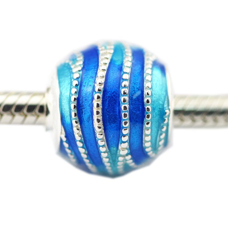 New 1pcs Bead Fits for Pandora Charms Bracelets 925 Sterling Silver Blue Swirls Mixed Enamel Beads for Jewelry Making Berloque