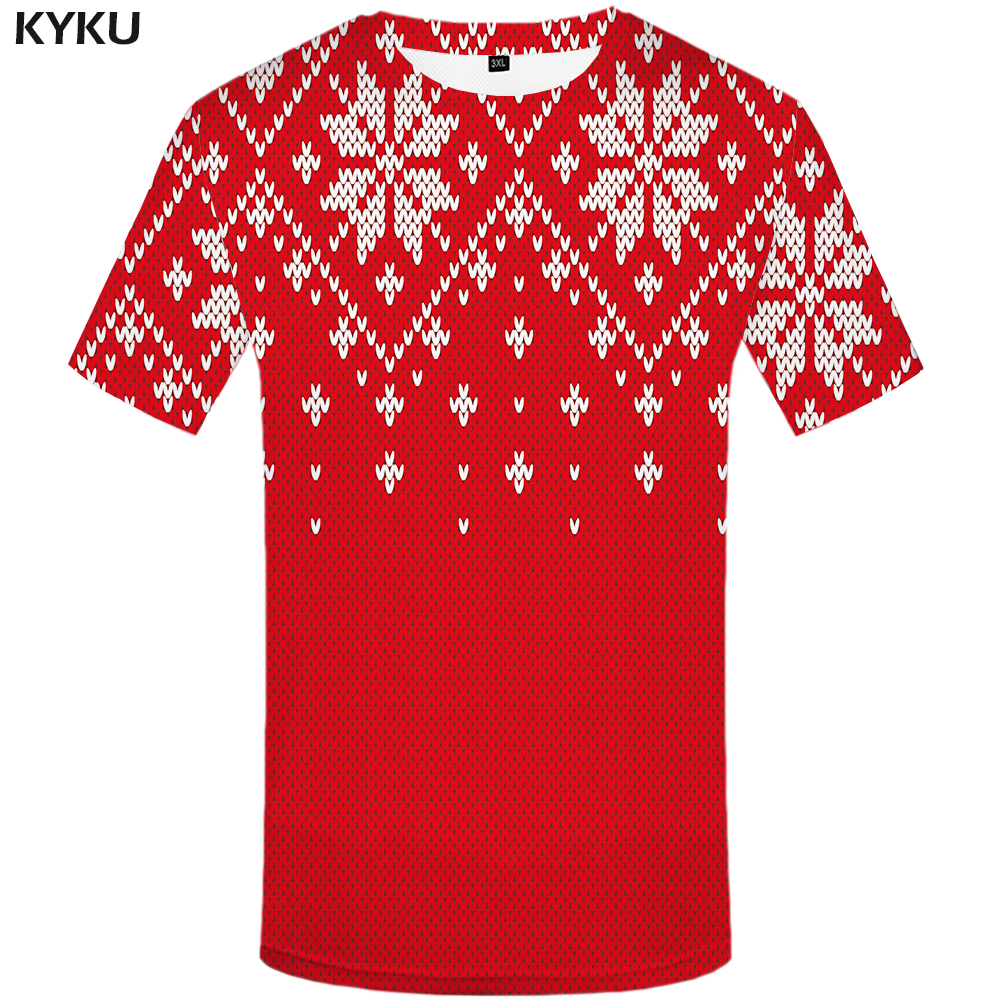 KYKU Christmas Tshirt Men Xmas 3d T-shirt Hip Hop Tee Red Pattern Print T Shirt Punk Rock Vintage Mens Clothing Streetwear Style