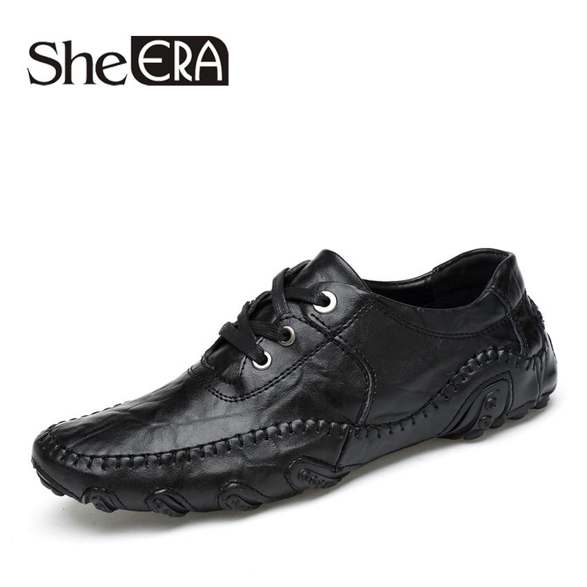 2017 Këpucë drejtimi për burra Këpucë me bizele lëkure pa rrëshqitje Mashkull dantellë deri lëkure të butë, këpucë për burra të frymëmarrjes Plus madhësia 38-45
