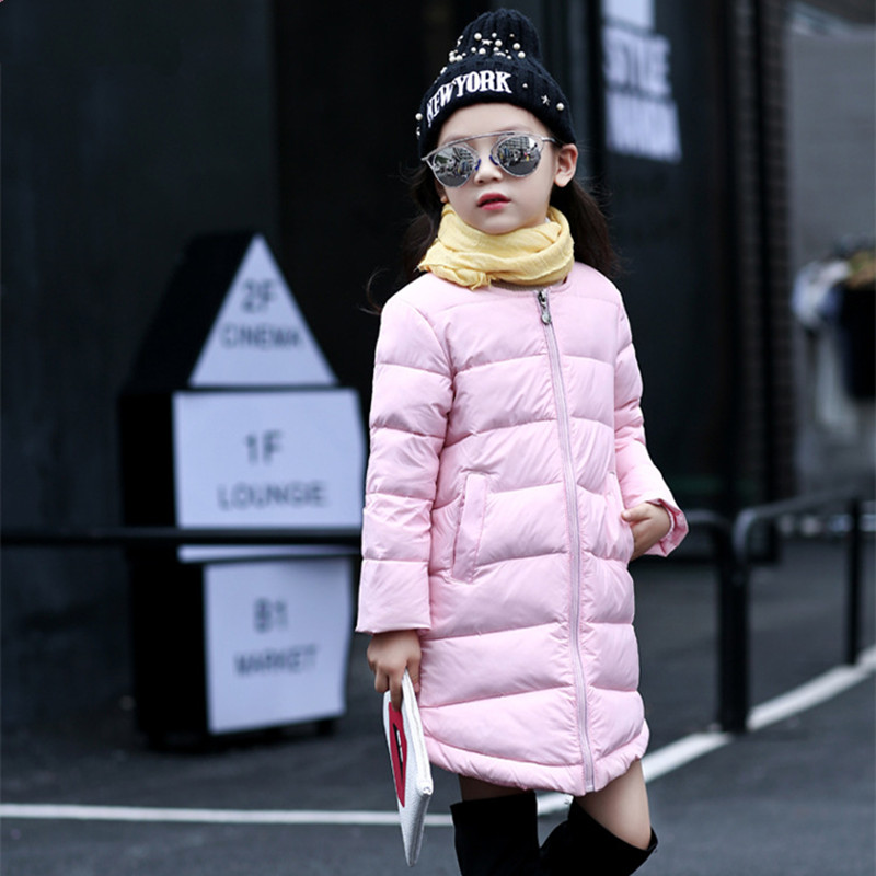 все цены на 2018 Brand Girls Winter Warm Long Coat Kid Cotton Girls Long Sleeve Christmas Candy Color School Cute Outerwear Children Clothes