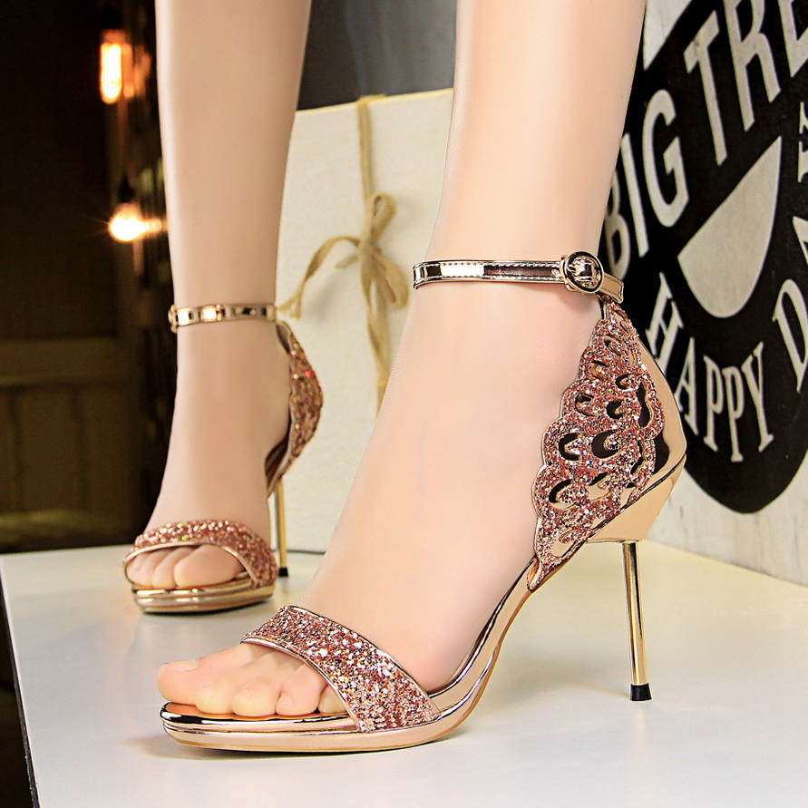 Women sandals 9.5cm high heels white red champagne sexy woman pumps ankle strap shoes nigeria party wedding wing Shoes