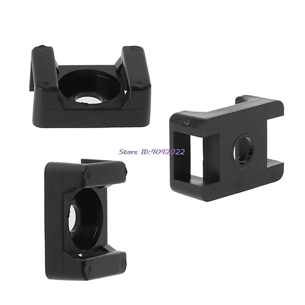 100Pcs Universal Black 4.5mm Width Cable Tie Saddle Type Holders Mount Base Wire