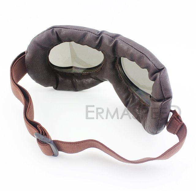 Vintage Motorcycle Helmet Goggles Pilot PU Leather Riding Eye Wear Copper for Harley Cruiser Chopper Cafe Racer Triumph