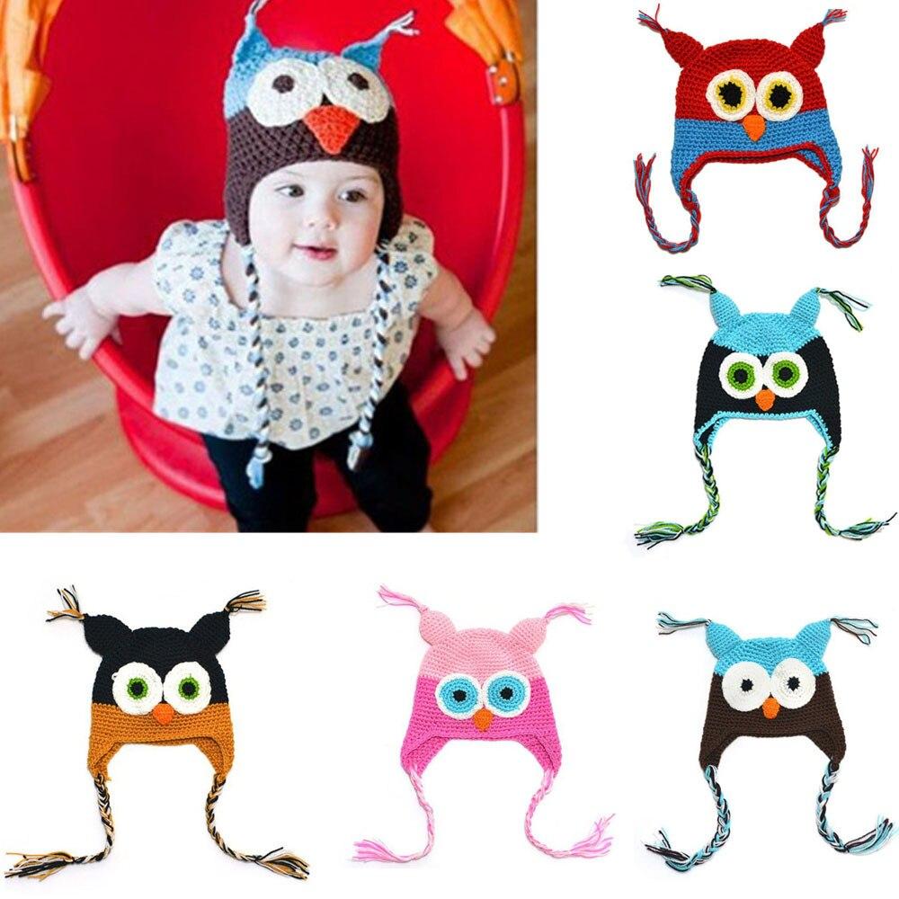 Bebé niña niño búhos de punto Crochet el sombrero de invierno Beanie ...