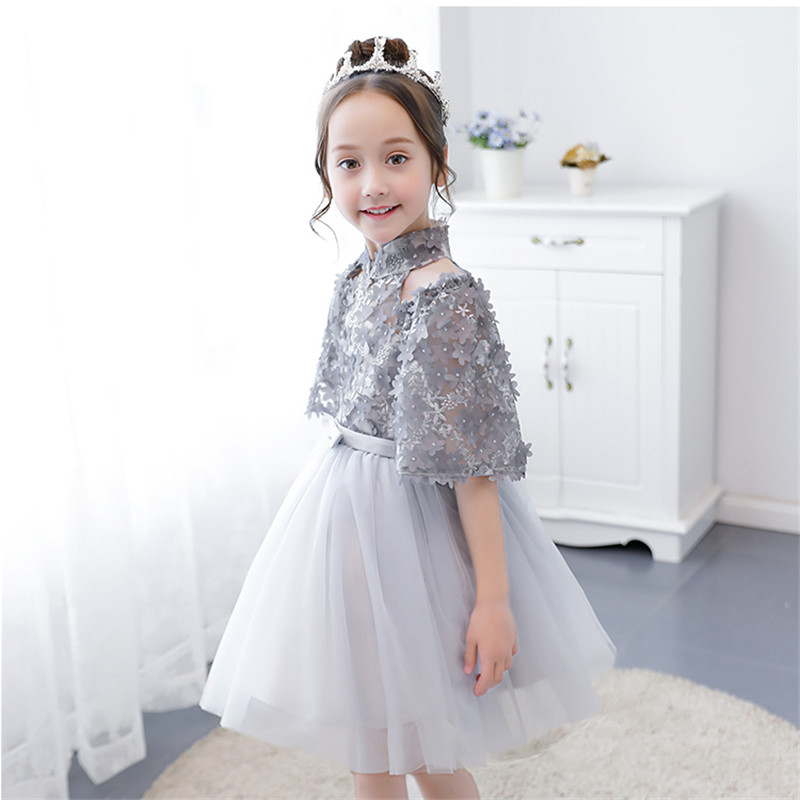 Little Girls Fashion Birthday Evening Party Ball Gown Princess Dress Summer New Children Kids Half Sleeves Model Show Dress 3~13 green crew neck roll half sleeves mini dress
