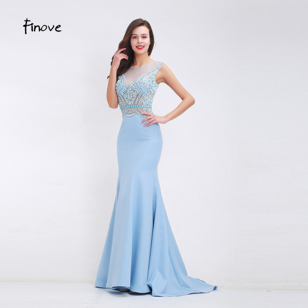 Natural Simple Elegant 2018 Blue Bridesmaid Dresses With: Finove Beading Baby Blue Prom Dresses 2018 Fall New