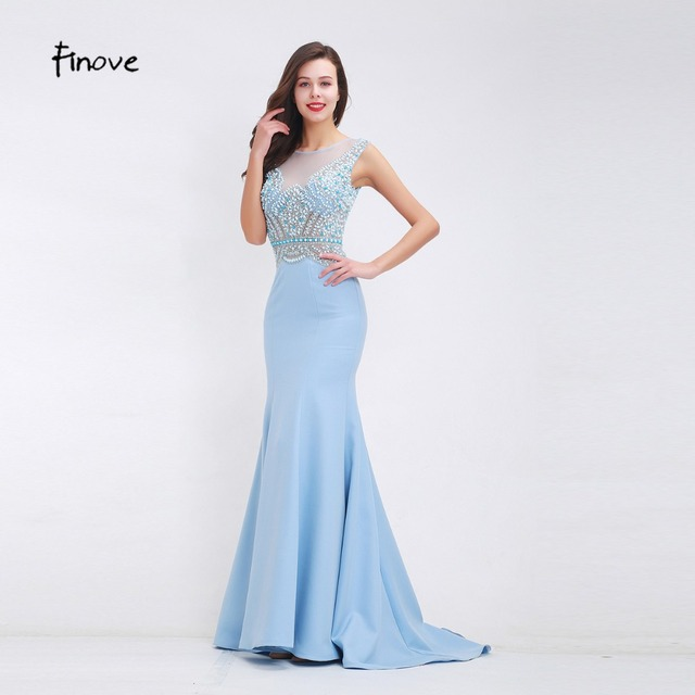 Finove Beading Baby Blue Prom Dresses 2018 Fall New Arrival See Through Tulle Elegant Mermaid