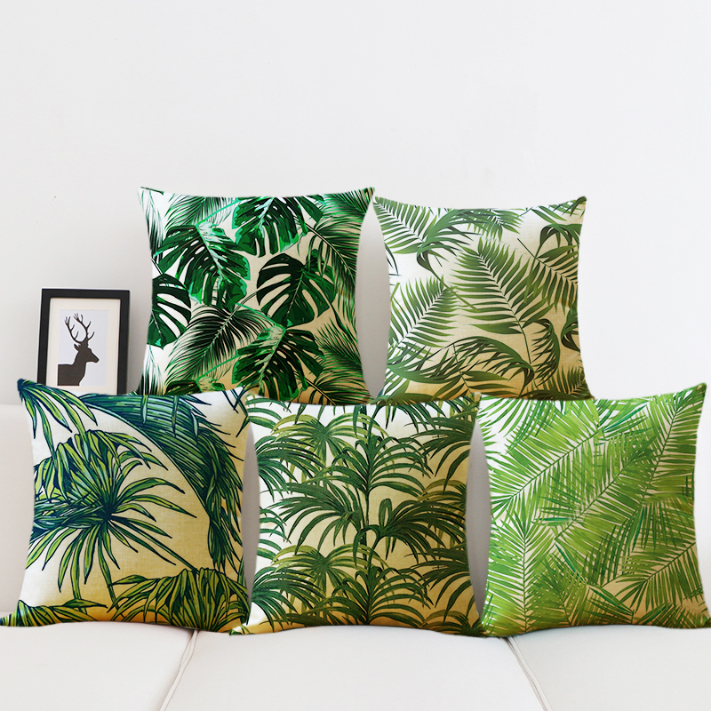 Green Leaves Cushion Covers Tropical Plants Cactus