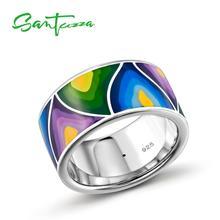 Santuzza prata anéis para mulher senhor do anel artesanal colorido esmalte anel puro 925 prata esterlina festa moda jóias