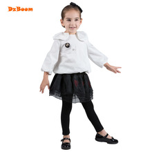 DzBoom 2017 Children Fashion Cute Blouses For Girls Autumn New Arrivals Cotton White Long Sleeve School Blouse Soft Kids Shirt