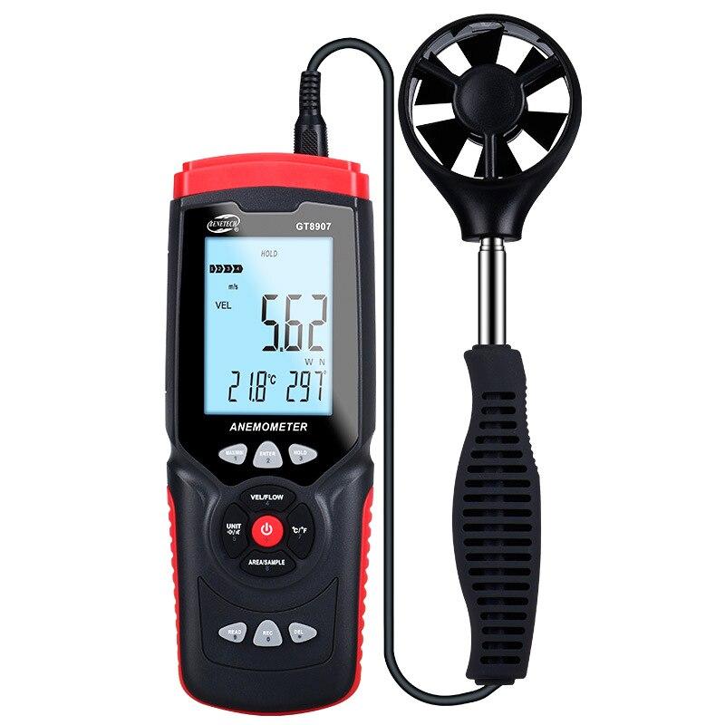 GT8907 Instruments de mesure de vitesse anémomètre Lcd numérique compteur de vitesse du vent capteur Portable 0.1-45 m/s anémomètre compteur de vitesse du vent