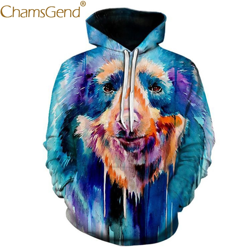 Chamsgend Hoodies Women Men 3D Sweatshirt Fashion Oil Paint Animal Print Hip Hop Blouse Hoodie Sweatshirts with Pocket 80109