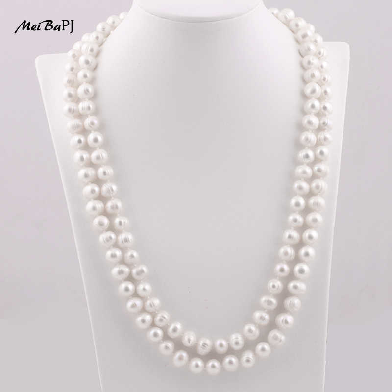 Meibapj 9-10mm tamanho agradável charme real de água doce pérola colar para mulher 120cm longo camisola corrente branco jóias da forma XL-069