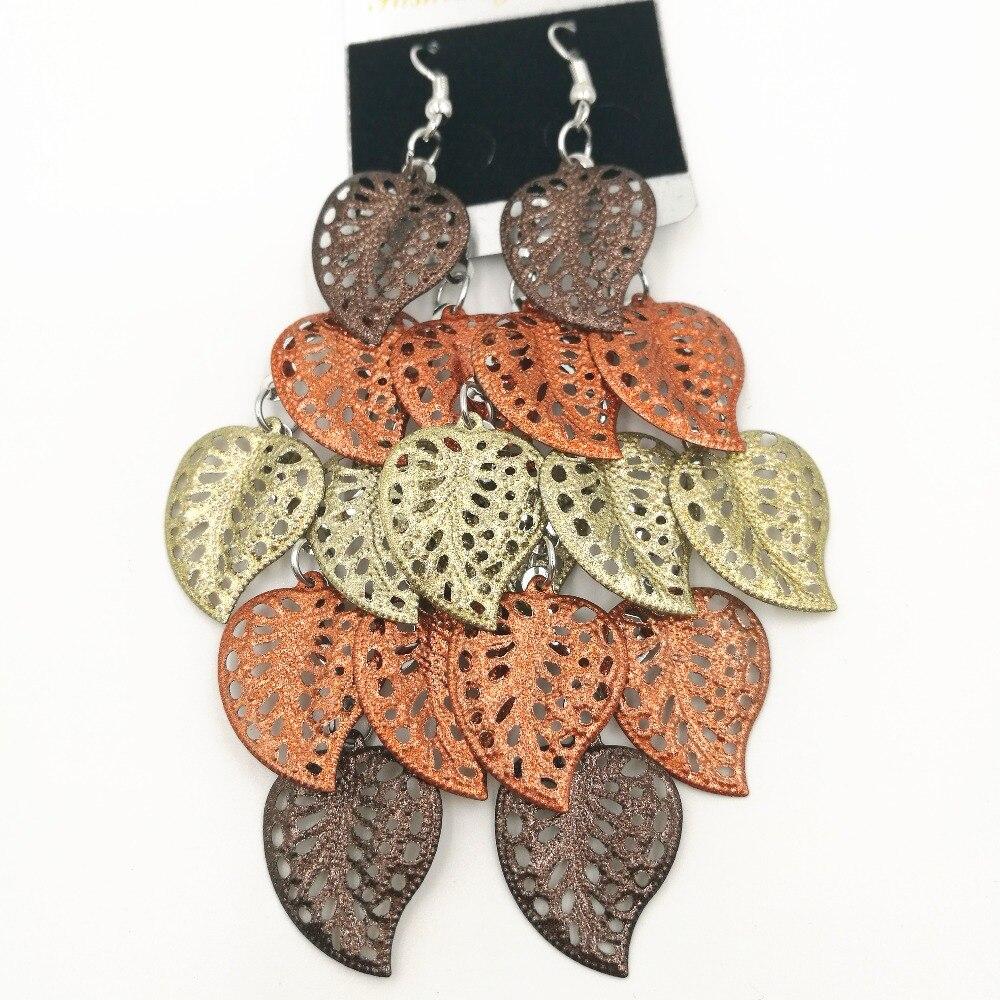 New Vintage Multicolor Drop Earrings For Women Silver Color Long Tassels  Hollow Leaf Costume Jewelry Earrings