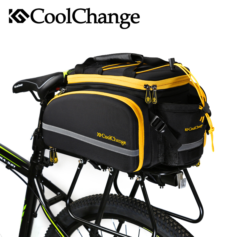 Coolchange Multi-Function Bicycle Rear Seat Trunk Bag Bike Luggage Package Rear Carrier Pannier EVA Shell With Rain Cover roswheel 50l bicycle waterproof bag retro canvas bike carrier bag cycling double side rear rack tail seat trunk pannier two bags