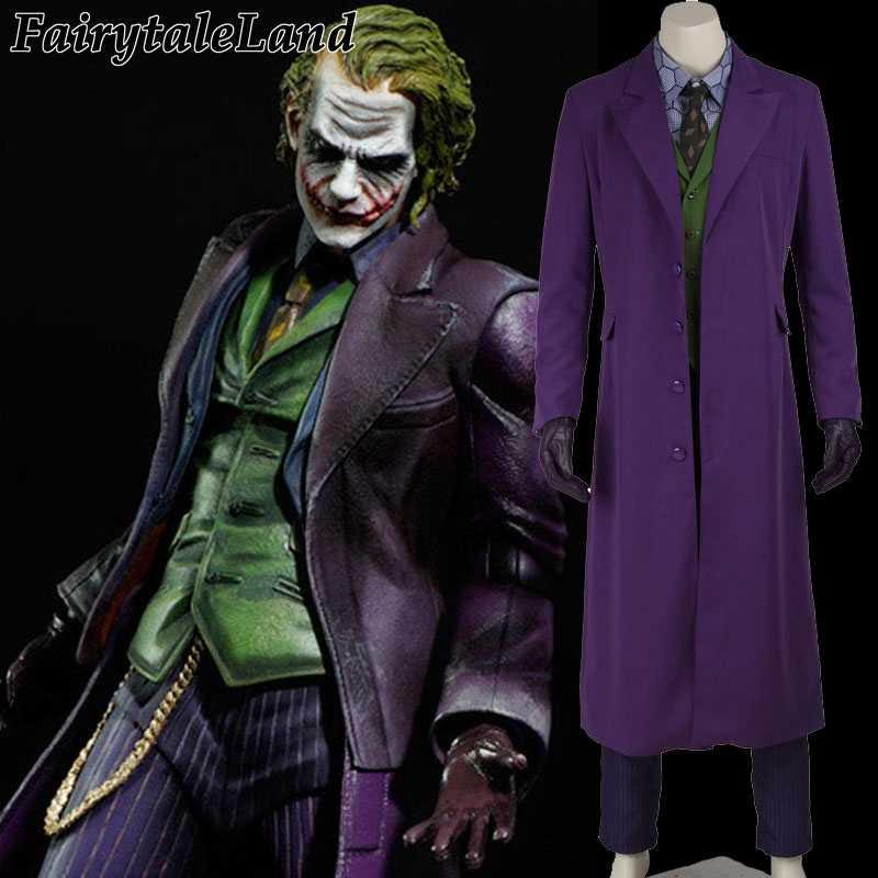 ליל כל הקדושים תלבושות עבור גברים ג 'וקר מעיל באטמן האביר האפל ג' וקר קוספליי תחפושת קרנבל קוספליי פנסי ליצן תלבושות באטמן