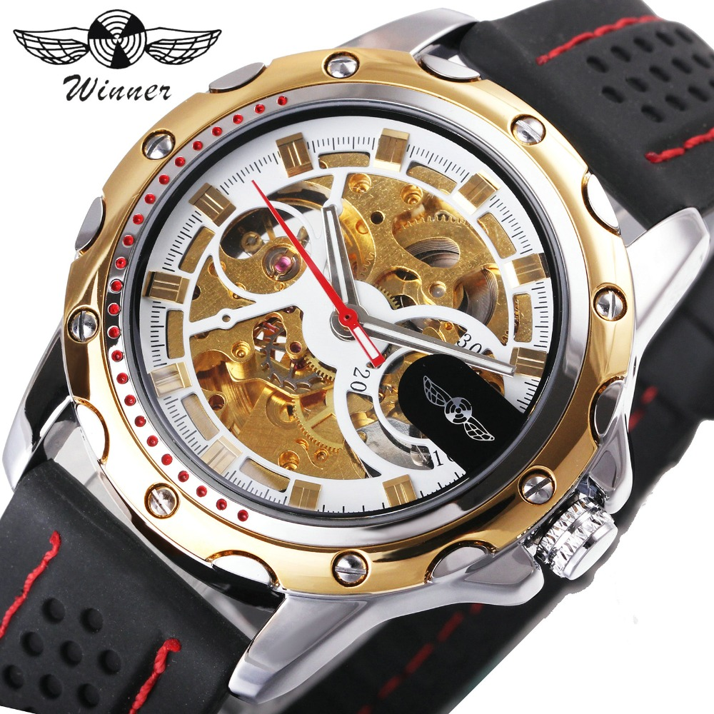 2018 WINNER Fashion Men Auto Mechanical Watch Rubber Strap Skeleton Dial Sport Wristwatch Golden Bezel Christmas Gift Clock winner men sports casual auto mechanical wristwatch soft rubber band sub dial auto date skeleton dial design watch gift box