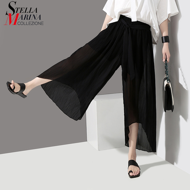 2018 Korean Style Women Black Long Pleated Chiffon Pants With Lining