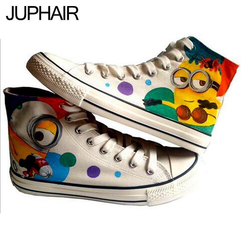 ФОТО JUP Shoes Mens Males Boys Coulorful Despicable Me Minion Spongebob Monkey Hand Painted Canvas Graffiti Shoes for Boys Girls Mans