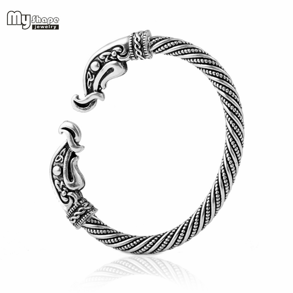 My Shape Silver Plated pulsera vikinga Cuff Bangle Bracelet Men Jewelry Vintage Teen Crow Bracelets Viking Bangles for Women bracelet