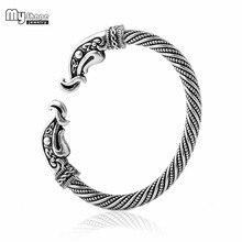 304c8d192c6 Minha Forma de Prata Banhado pulsera vikinga Corvo Adolescente Cuff  Pulseira Homens Jóias Vintage Pulseiras Bangles