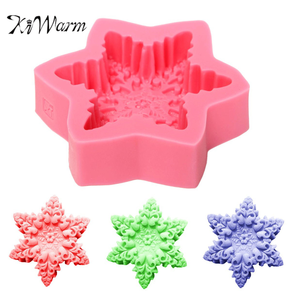 1PCS 10.5x2.4cm Durable Snowflake Design Silicone Mould Soap Mold DIY Crafts Handmade Soap Making Mould Tool Supplies 10.5x2.4cm cake molds for fondant