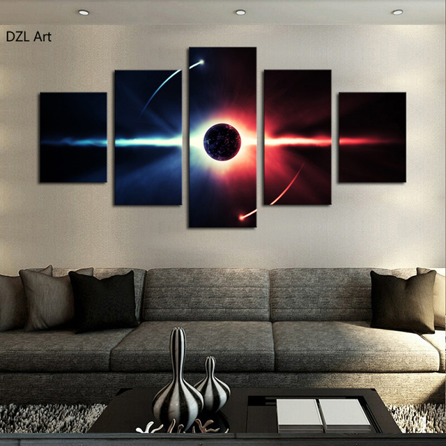 5 pcs no frame large hd abstrac planet canvas print painting for