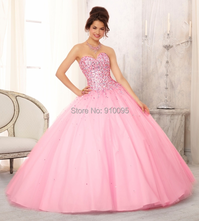 Quinceanera Dresses Pink Puffy - Missy Dress
