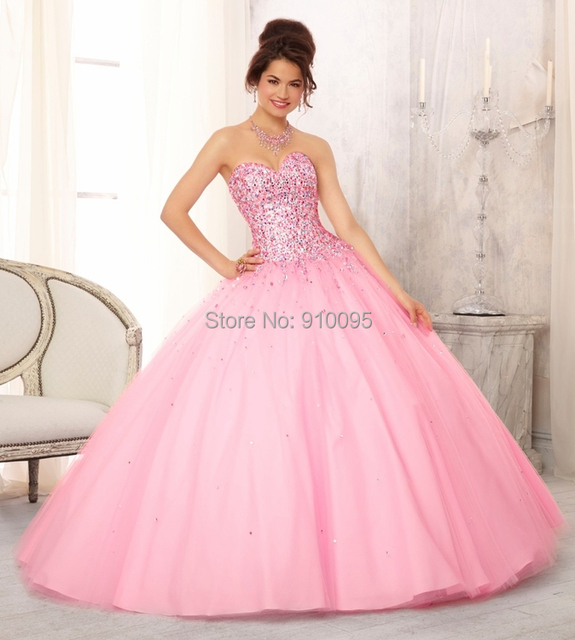 2015 Masquerade Ball Dresses White Crystal Quinceanera Dresses Pink ...