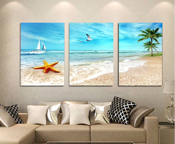 3 Panel Large Beach Canvas Seascapes Palm Tree Paintings 3 Piece Wall Art  Coconut Home Decor Part 83