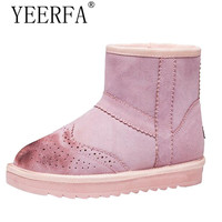 YIERFA Women Brogues Winter Snow Boots Ankle Boots Candy Color Snow Boots Women Fashion Casual Warm