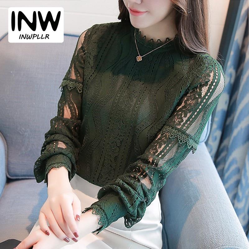 adb2c69f188 Новое поступление 2017 года женские модные топы зеленый кружевная блузка с длинными  рукавами на осень Большие
