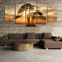Home Decoration Picture 5 Piece Canvas Print Art Movie Poster Color Dream of Tree Print Canvas Art Framed Nordic Modular Picture