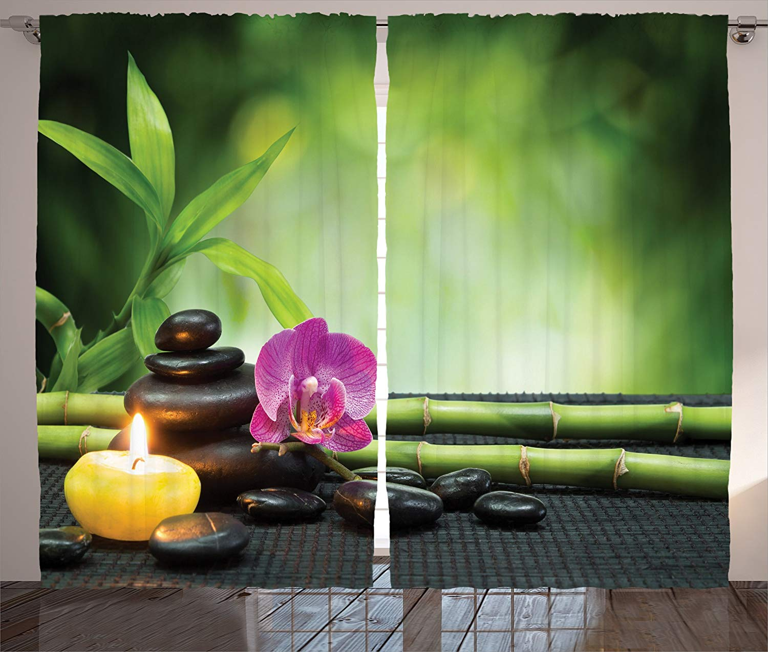 Spa Decor Curtains Orchid Bamboo Stems Chakra Stones Japanese Alternative Feng Shui Elements Therapy Living Room Bedroom Decor 2