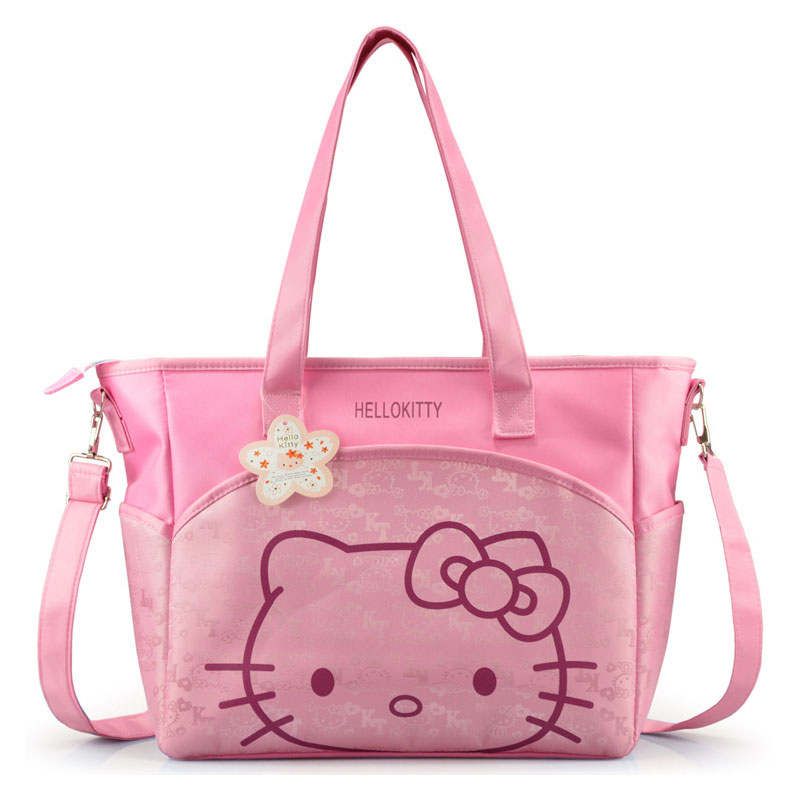 New Large Capacity Cartoon Doraemon Hello Kitty Mummy Bag Women Travel Handbag Shoulder Tote Thermal Insulation Stroller Bag