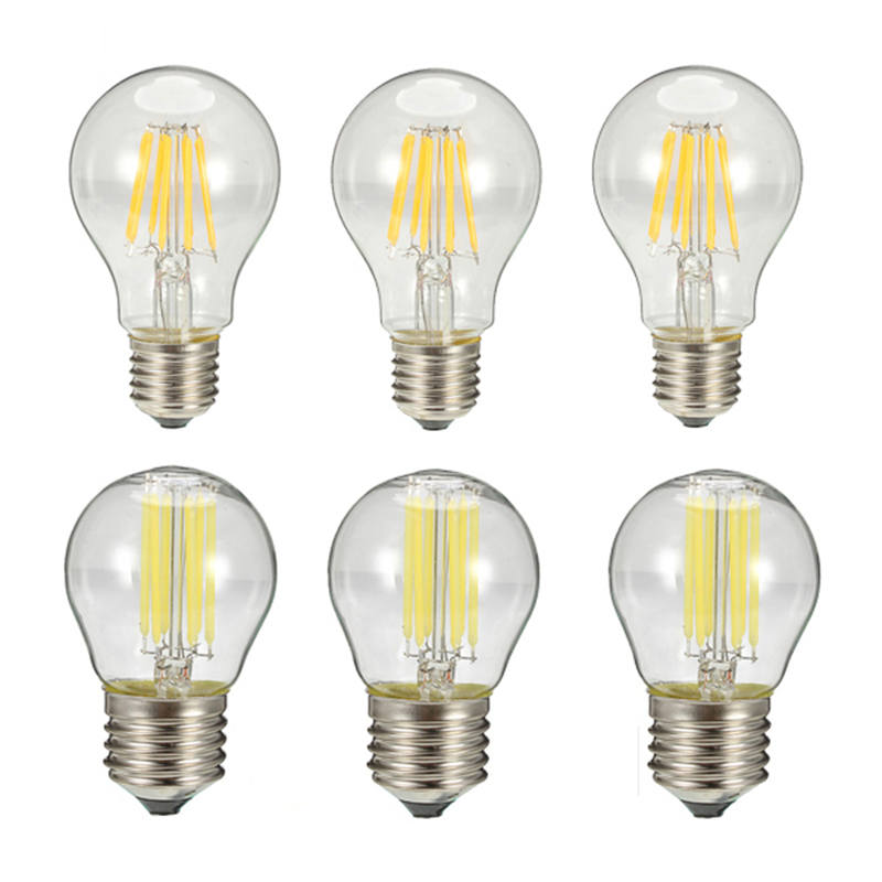 Dimmable E27 G45 A60 LED Filament Light Glass House Bulb Lamps 110V 220V 6W 8W Edison chandelier for In-Outdoor Bedroom Decor
