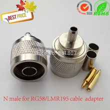 купить N-C-J3 N-type Male Crimp connector for RG142 RG58 LMR195 LMR200 3D-FB cable N type Male Plug Straight Crimp RF Coaxial Connector онлайн