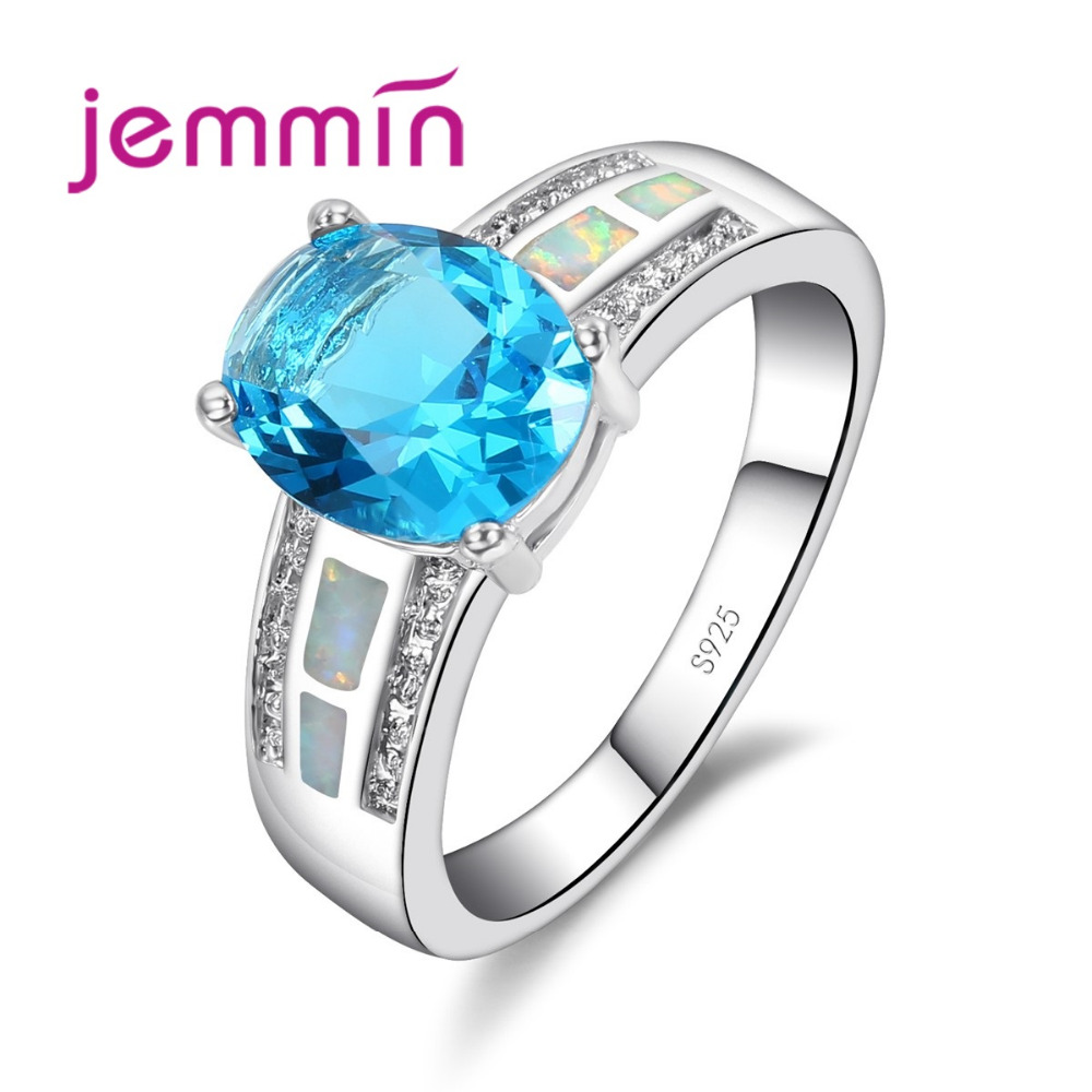 Brand Accessories Blue Fire Opal Rings 925 Sterling Silver For Women Engagement Wedding Present Blue Crystal Elegant Ring