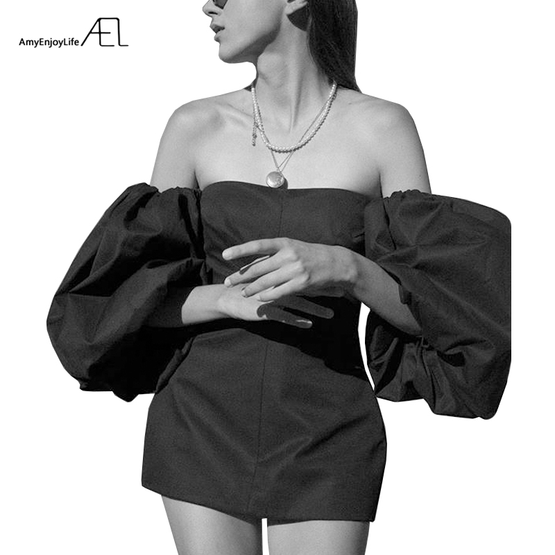 AEL Female Mini Dress Bishop Sleeve High Waist Elegant Short Dresses Women 2019 Summer Off Shoulder