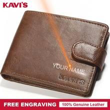 KAVIS, мужской кошелек из натуральной кожи, на застежке, Portomonee, портфель, мини, простой, мужской, Cuzdan, сделай сам, подарок для мужчин, тонкий держатель для карт, Money Perse