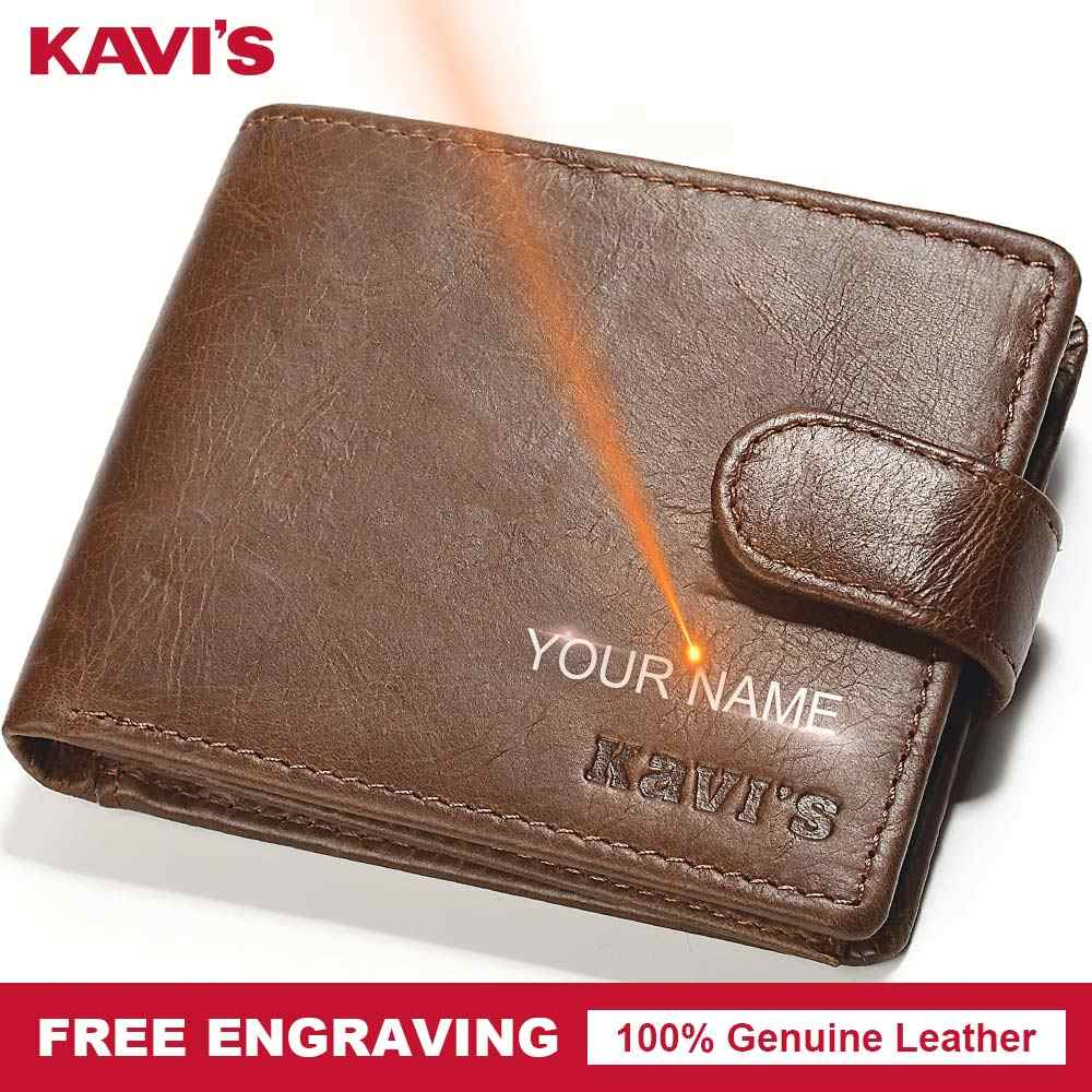 KAVIS Genuine Leather Wallet Men Hasp Portomonee PORTFOLIO Mini Simple Male Cuzdan DIY Gift For Man Slim Card Holder Money Perse