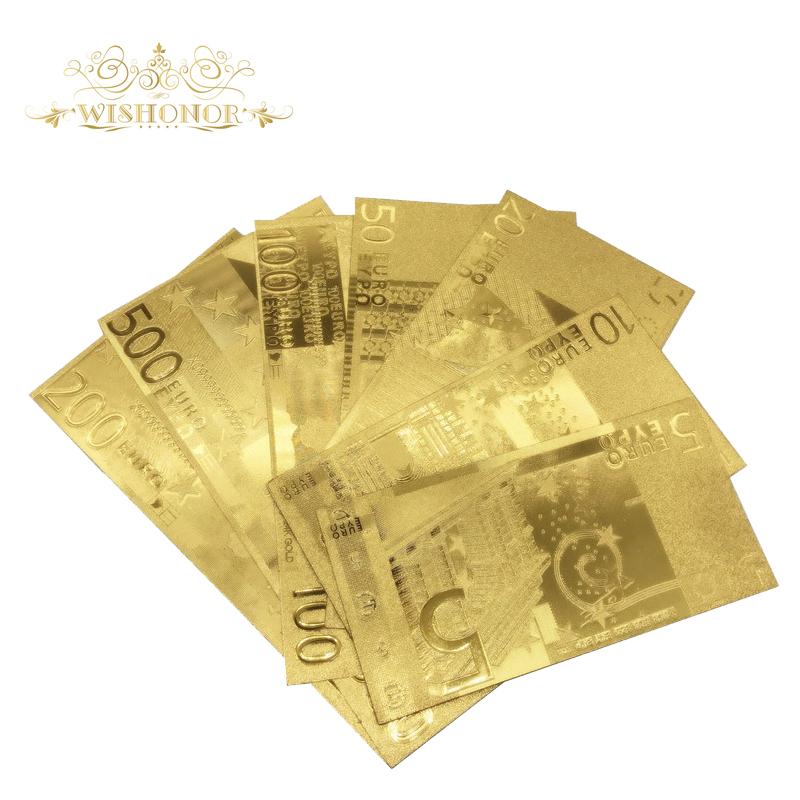 Wishonor 7Pcs/lot Euro Banknotes 5 10 20 50 100 200 500 Euro Gold Banknote In Gold Plated Reproduction For Stunning Items