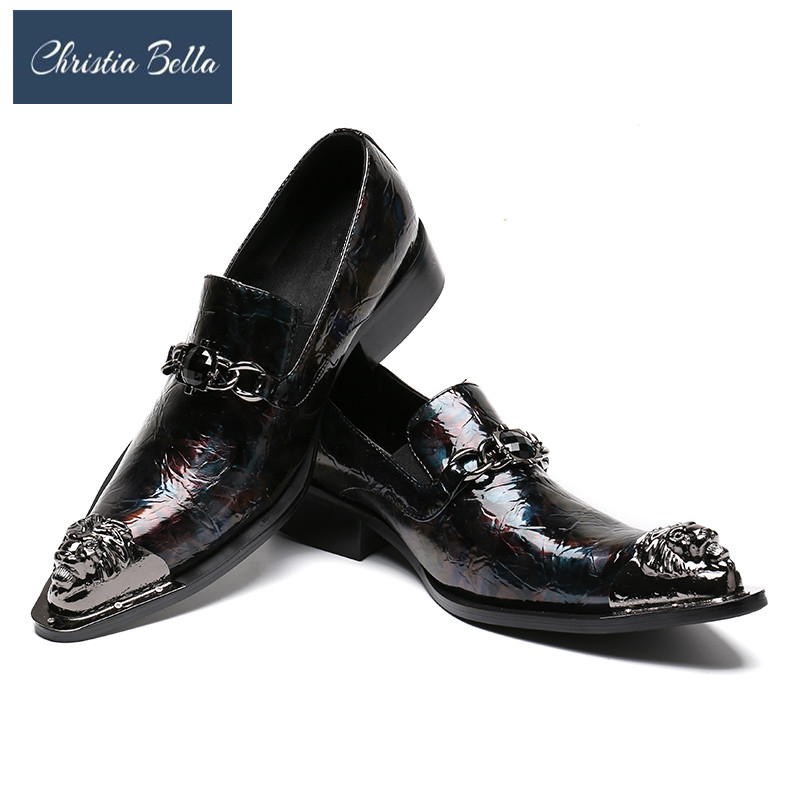Christia Bella Slip on Shoes Men with Metallic Toe Fashion Shoes with Genuine Leather Upper Metallic Accents Cushioned InsoleChristia Bella Slip on Shoes Men with Metallic Toe Fashion Shoes with Genuine Leather Upper Metallic Accents Cushioned Insole