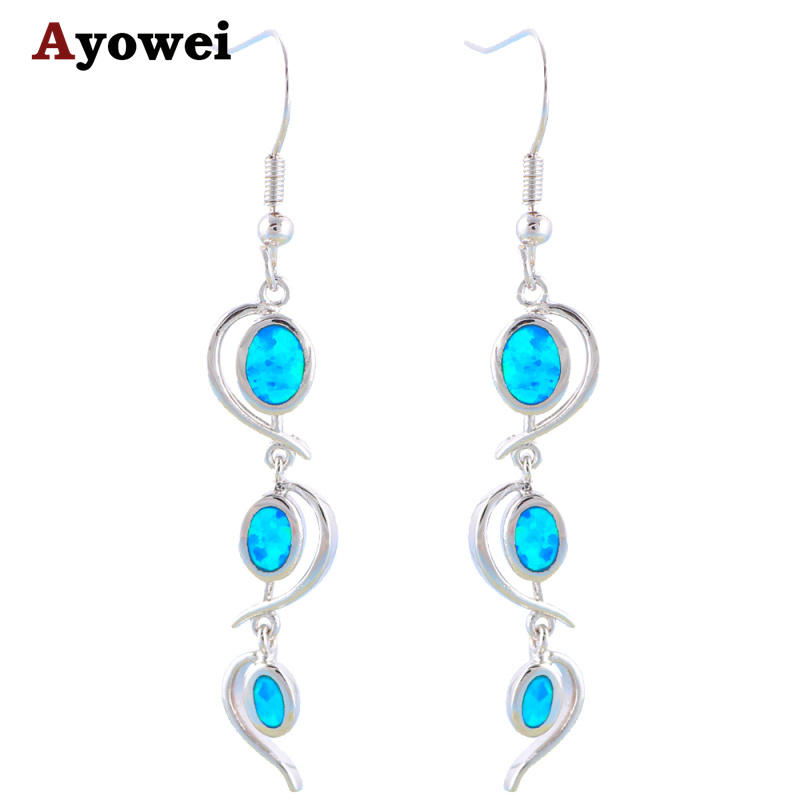5g design royal style blue fire opal stamp silver dangle earrings for women fashion jewelry opal Design and style fashion jewelry