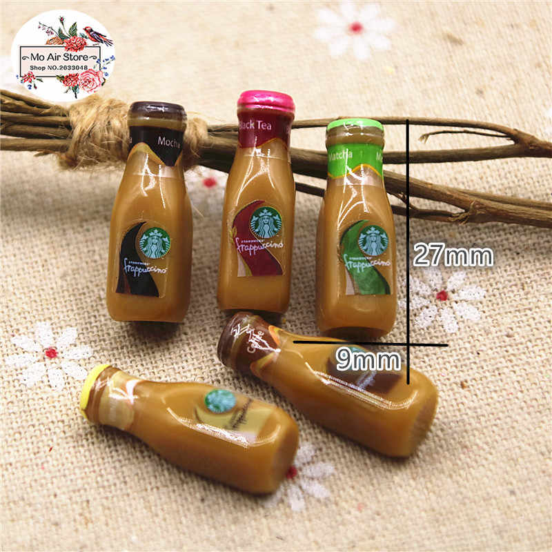 10pcs resin 3D cute Coffee Frappuccino bottle Cabochon imitation food drink Art Supply Decoration Charm DIY Craft