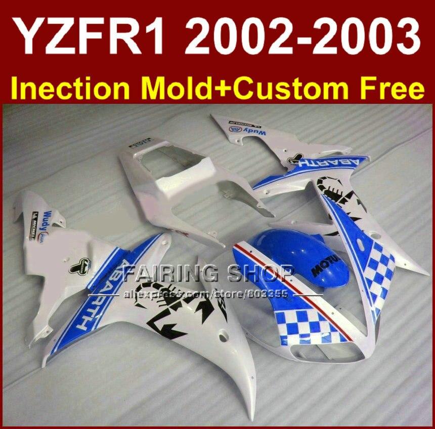 Blue white ABARTH fairing set for YAMAHA YZF R1 2002 2003 fairings yzf r1 02 03 YZF1000 02 03 body repair parts запчасти для мотоциклов yamaha yzf1000 02 03 r1