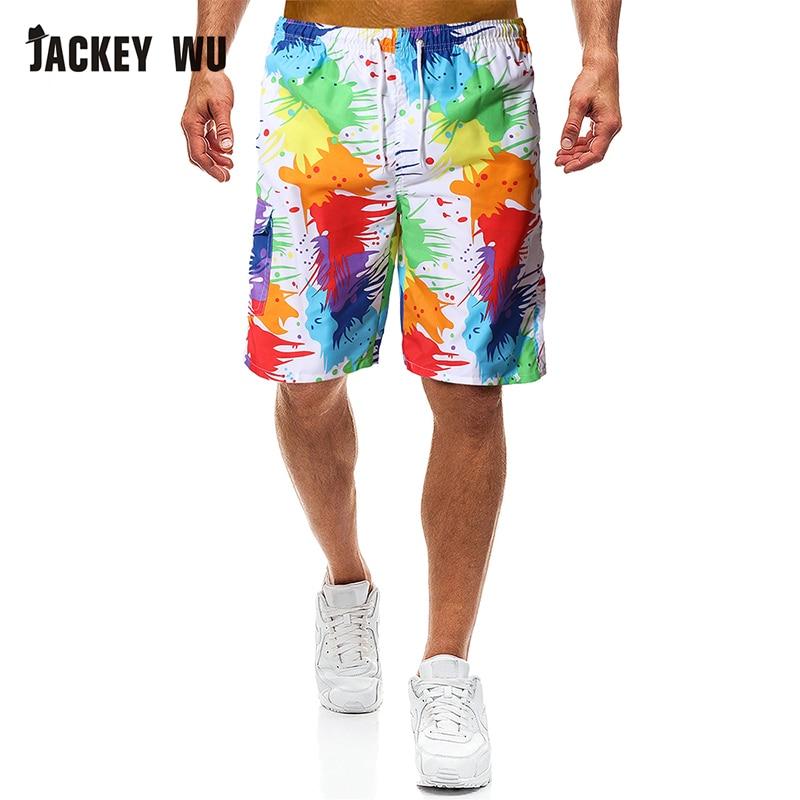 JACKEYWU Brand Beach Shorts 2019 Summer Fashion Print Bermuda Casual Board Shorts Quick Dry Swimwear Holiday Men's Clothing