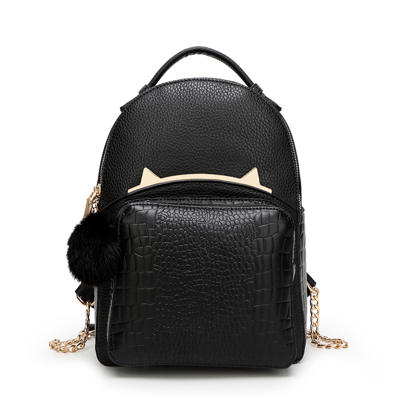 New Summer Women s Backpack Preppy Style Cute Cat Design For Girl Ladies PU Leather Backpacks